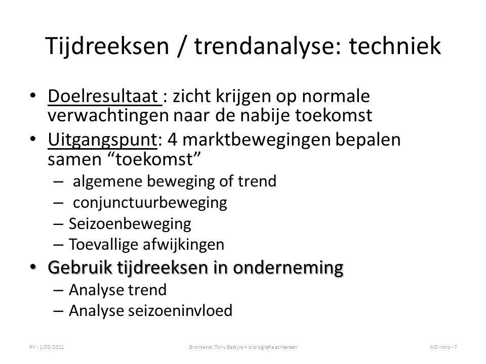 Tijdreeksen / trendanalyse: techniek
