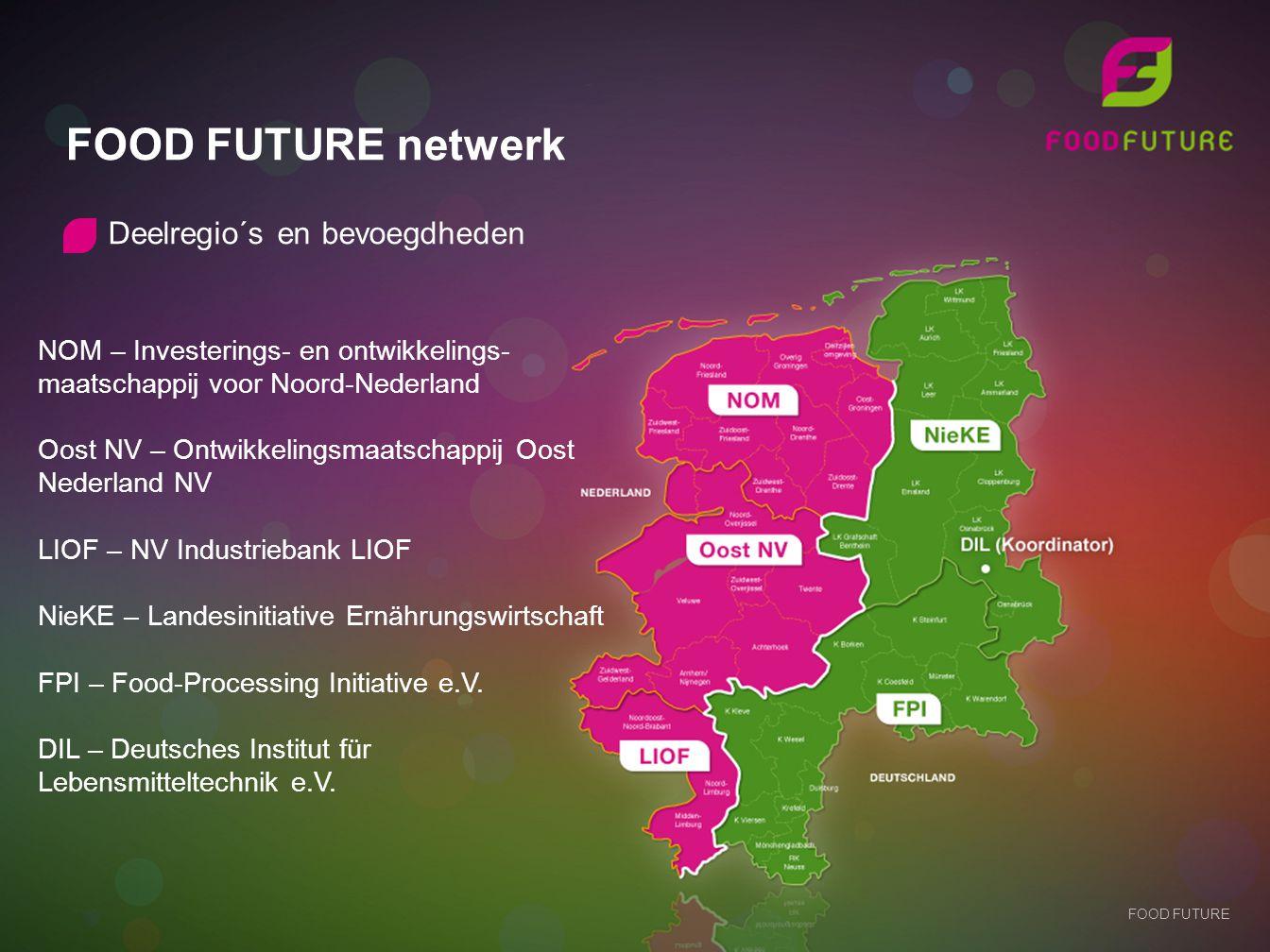 FOOD FUTURE netwerk Deelregio´s en bevoegdheden