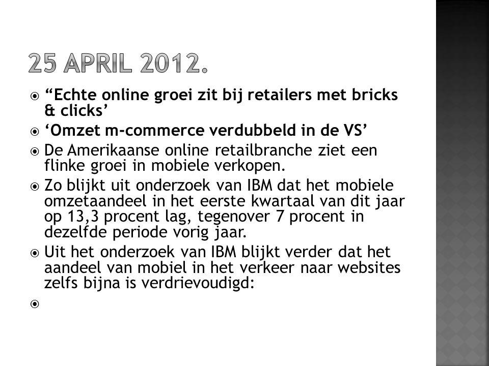 25 april 2012. Echte online groei zit bij retailers met bricks & clicks' 'Omzet m-commerce verdubbeld in de VS'
