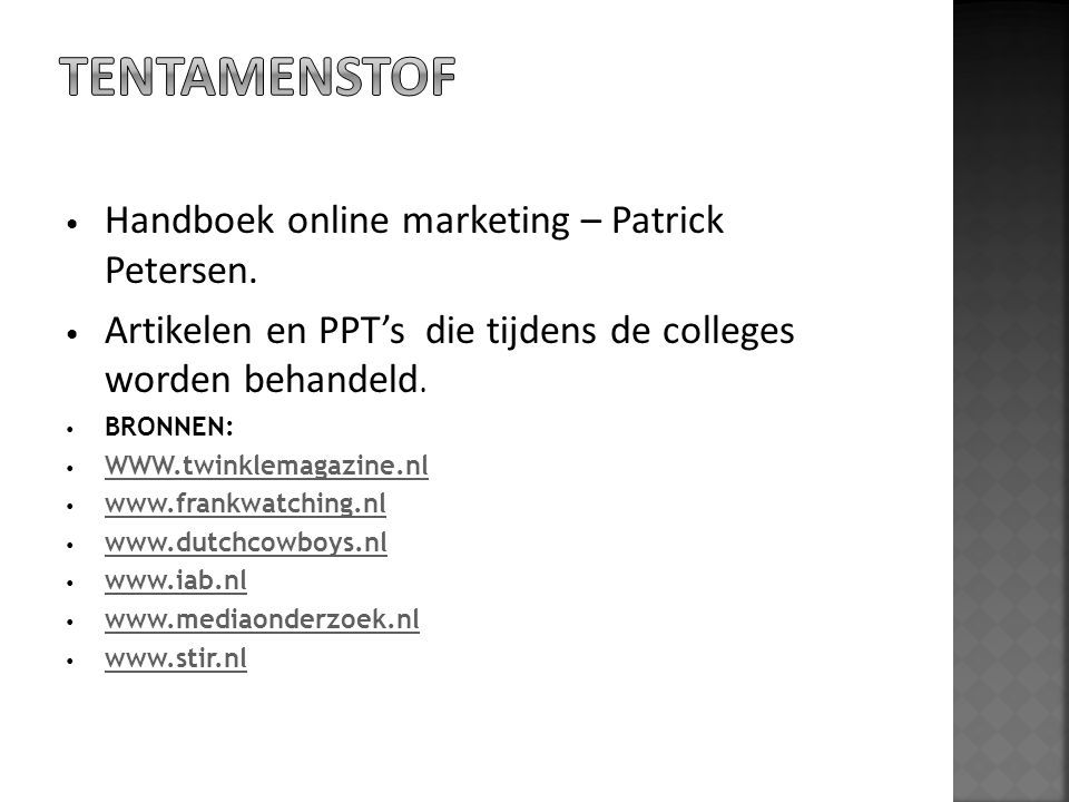 Tentamenstof Handboek online marketing – Patrick Petersen.