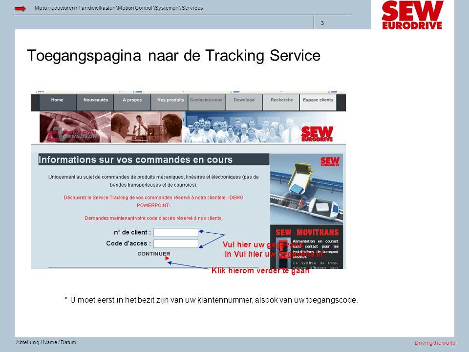 Toegangspagina naar de Tracking Service