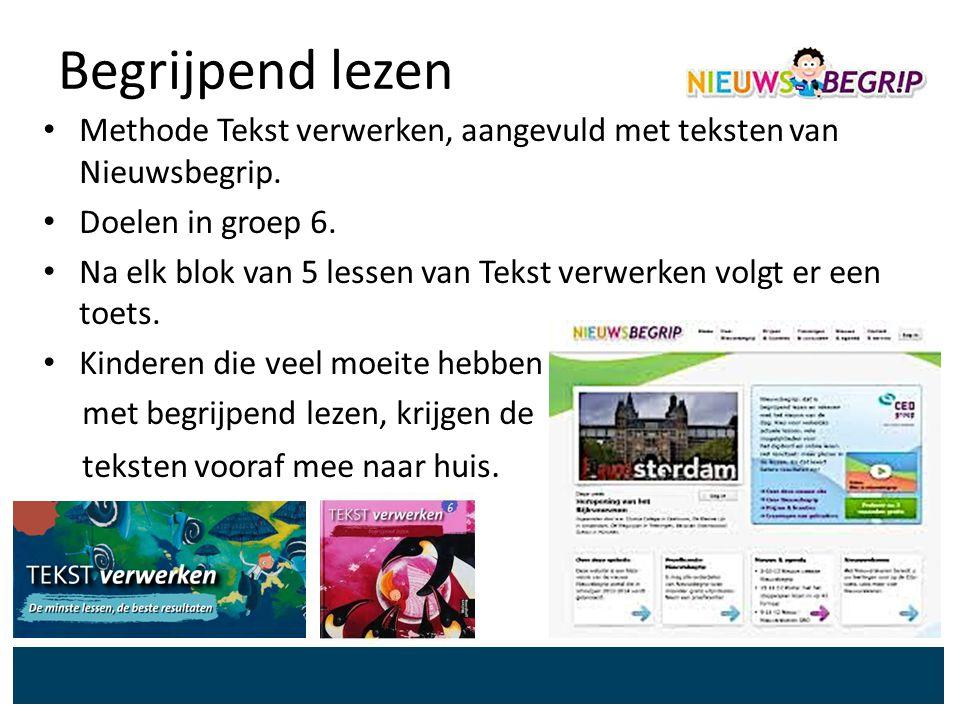 Begrijpend lezen Methode Tekst verwerken, aangevuld met teksten van Nieuwsbegrip. Doelen in groep 6.
