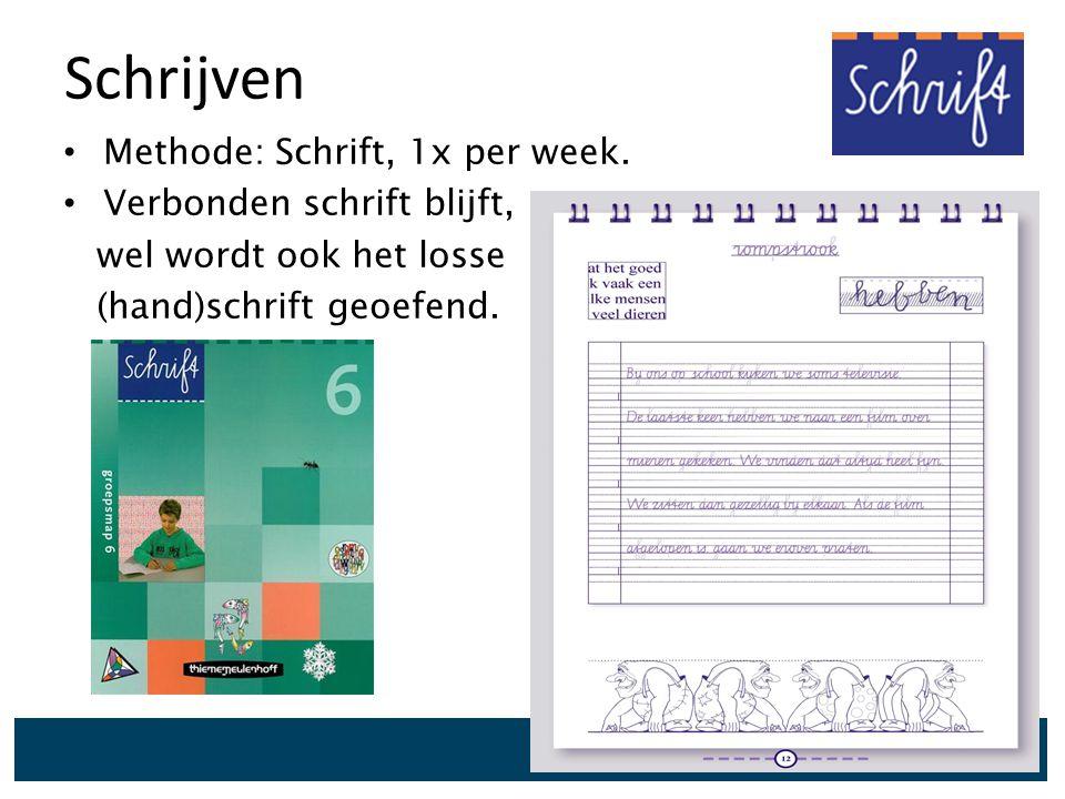 Schrijven Methode: Schrift, 1x per week. Verbonden schrift blijft,