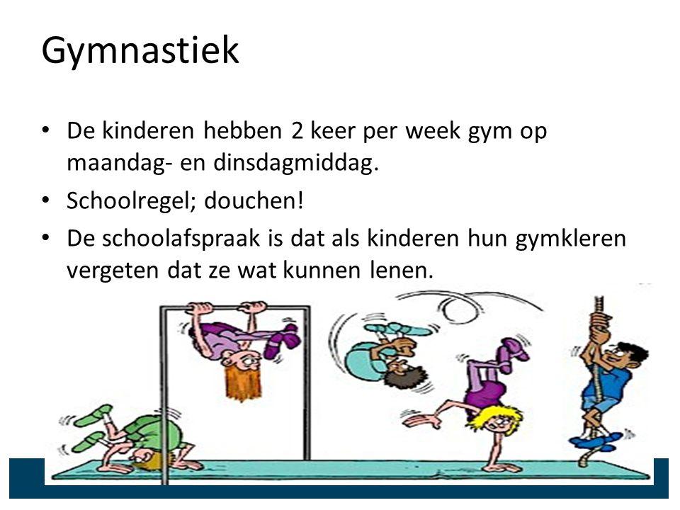 Gymnastiek De kinderen hebben 2 keer per week gym op maandag- en dinsdagmiddag. Schoolregel; douchen!