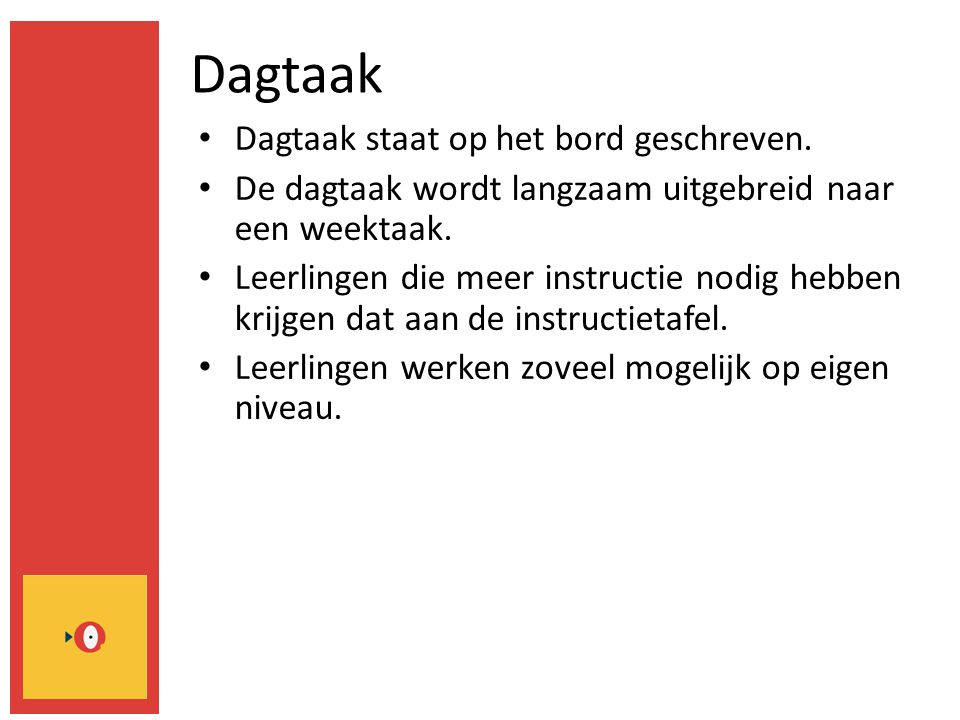Dagtaak Dagtaak staat op het bord geschreven.