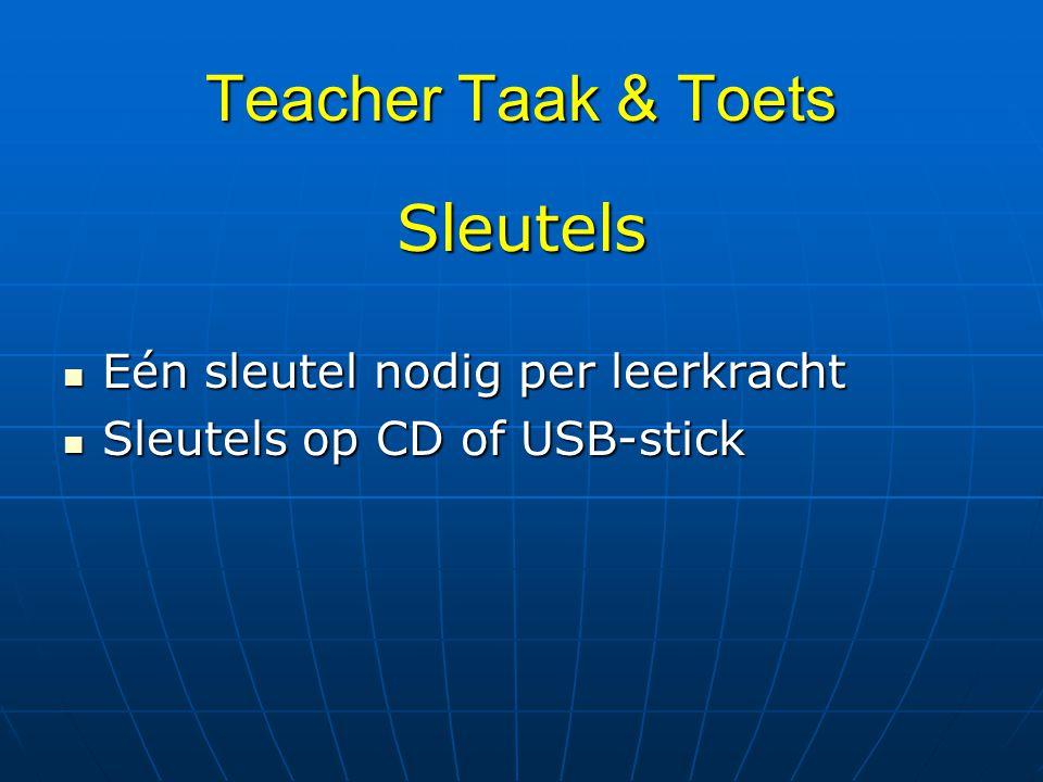 Teacher Taak & Toets Sleutels Eén sleutel nodig per leerkracht