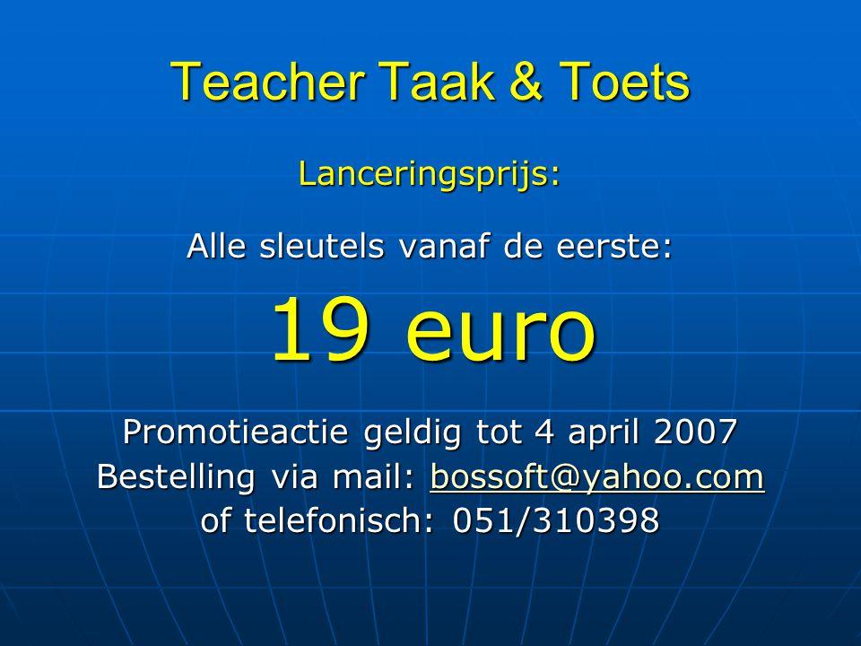 19 euro Teacher Taak & Toets Lanceringsprijs: