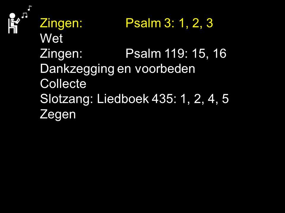 Zingen: Psalm 3: 1, 2, 3 Wet. Zingen: Psalm 119: 15, 16. Dankzegging en voorbeden. Collecte.