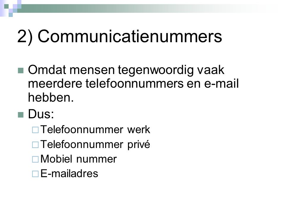 2) Communicatienummers