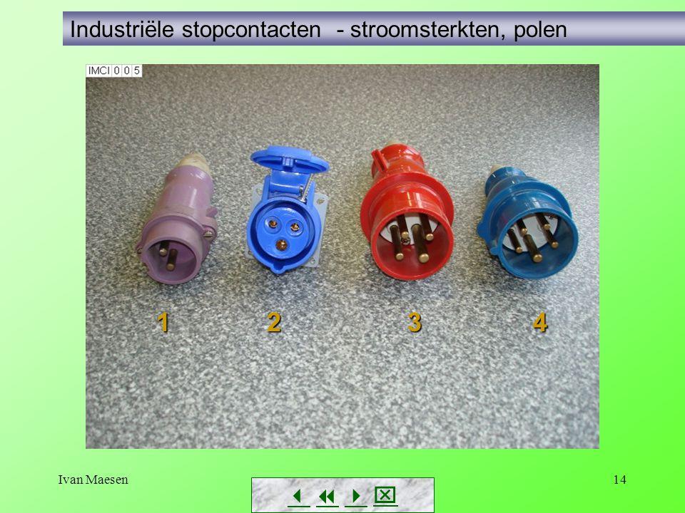 1 2 3 4 Industriële stopcontacten - stroomsterkten, polen    
