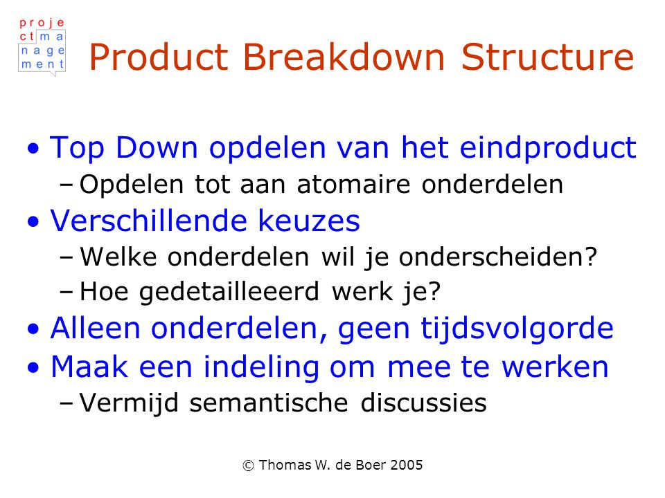 Product Breakdown Structure