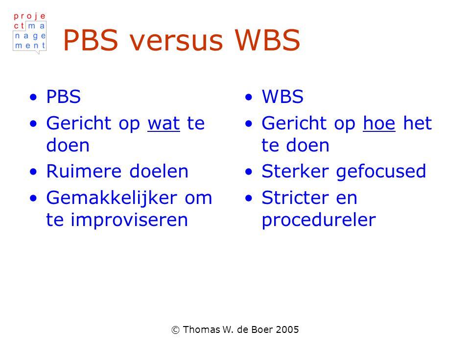 PBS versus WBS PBS Gericht op wat te doen Ruimere doelen