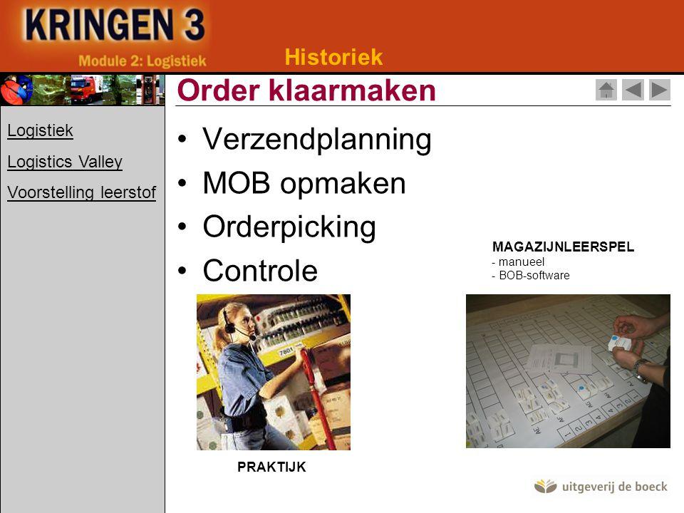 Order klaarmaken Verzendplanning MOB opmaken Orderpicking Controle
