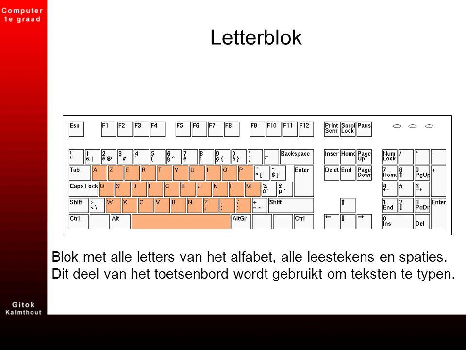 Letterblok Blok met alle letters van het alfabet, alle leestekens en spaties.