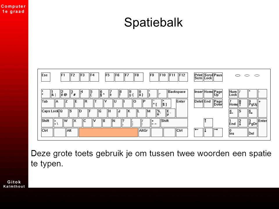 Spatiebalk Deze grote toets gebruik je om tussen twee woorden een spatie te typen.
