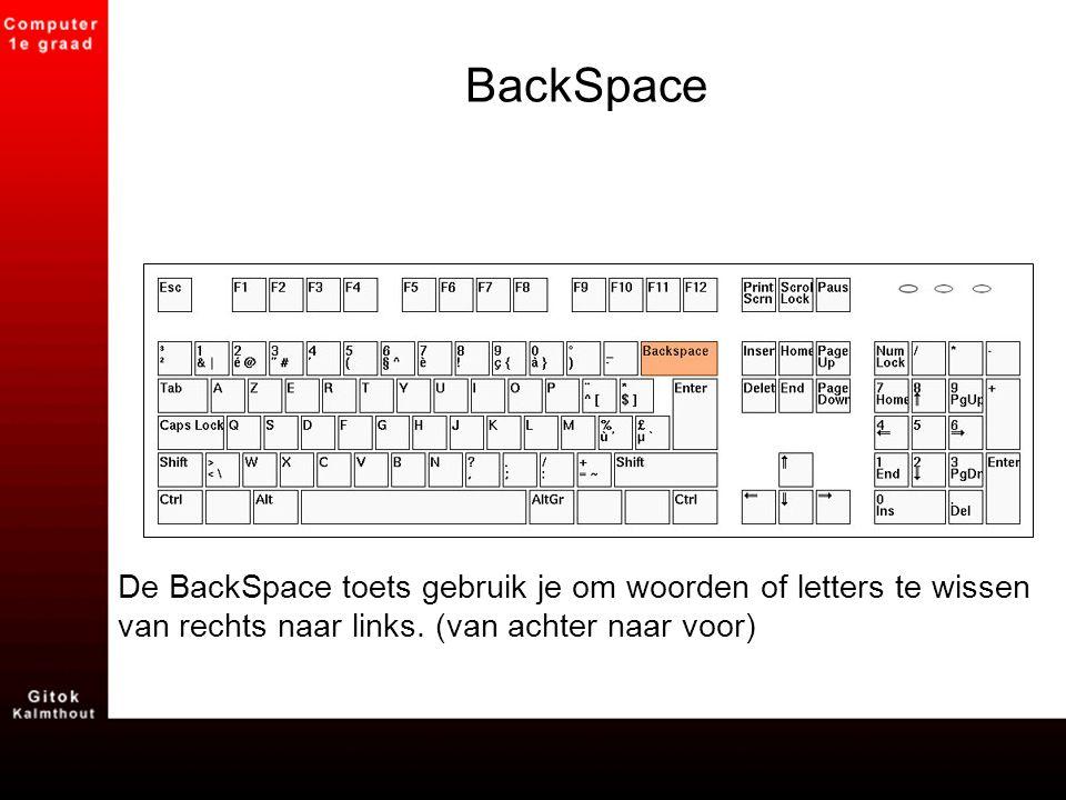 BackSpace De BackSpace toets gebruik je om woorden of letters te wissen van rechts naar links.