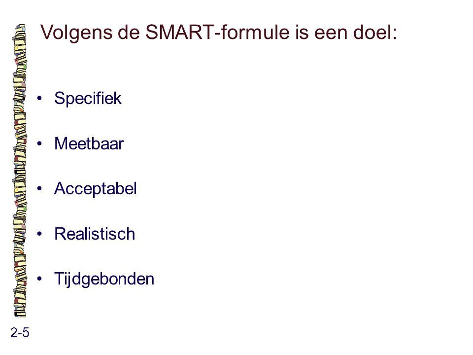 Volgens de SMART-formule is een doel: