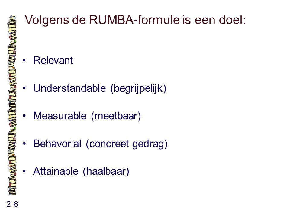 Volgens de RUMBA-formule is een doel: