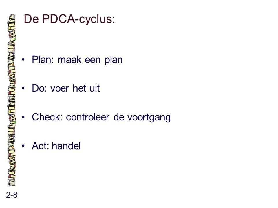 De PDCA-cyclus: • Plan: maak een plan • Do: voer het uit