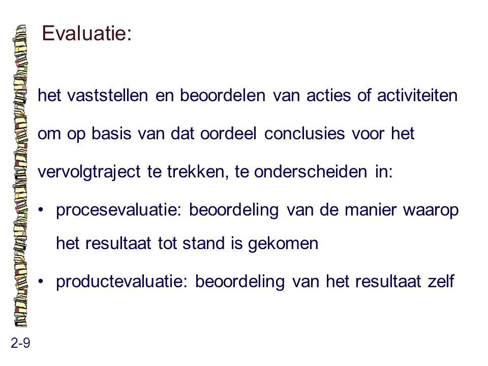 Evaluatie: het vaststellen en beoordelen van acties of activiteiten