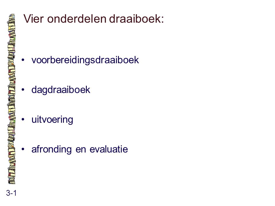 Vier onderdelen draaiboek: