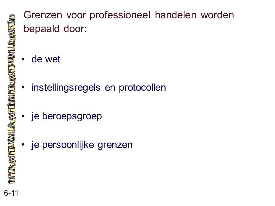 Grenzen voor professioneel handelen worden bepaald door: