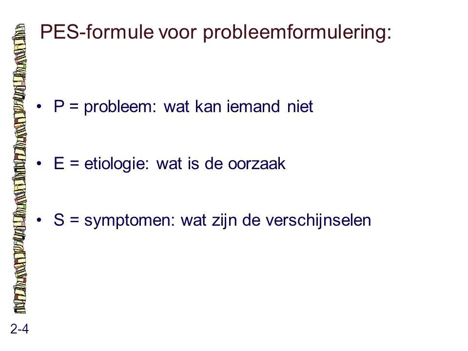 PES-formule voor probleemformulering: