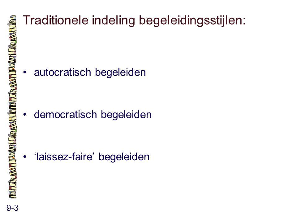Traditionele indeling begeleidingsstijlen:
