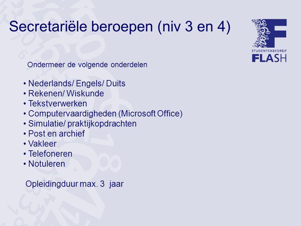 Secretariële beroepen (niv 3 en 4)