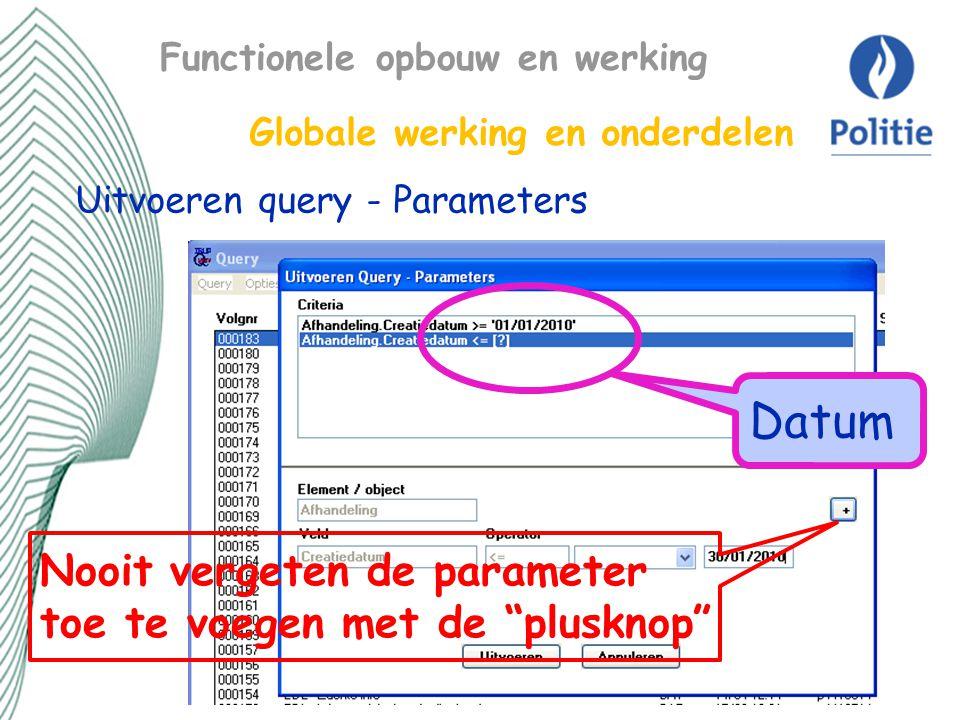 Datum Nooit vergeten de parameter toe te voegen met de plusknop