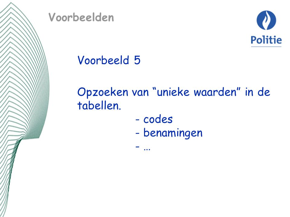 Voorbeelden Voorbeeld 5 Opzoeken van unieke waarden in de tabellen. - codes - benamingen - …