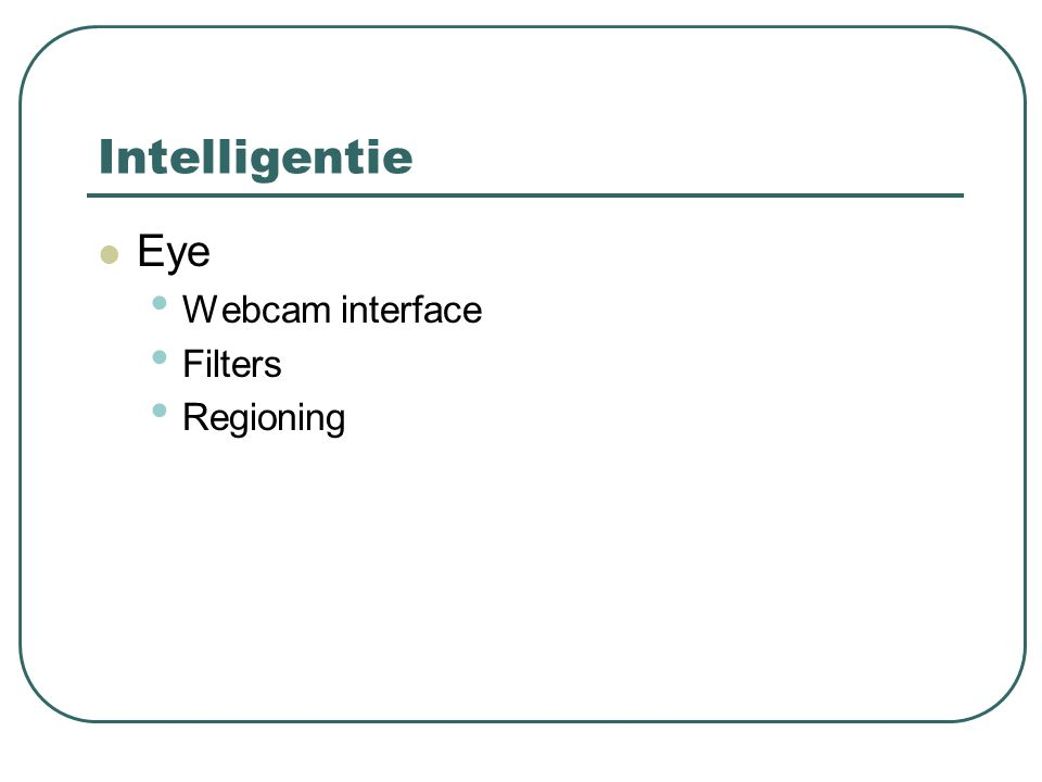 Intelligentie Eye Webcam interface Filters Regioning