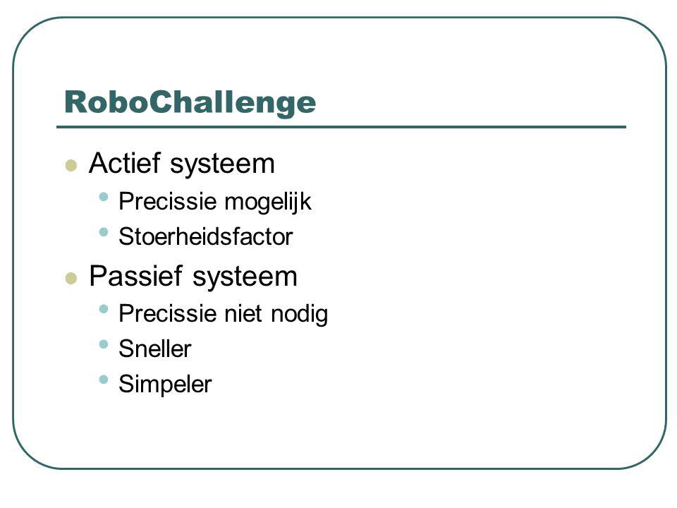 RoboChallenge Actief systeem Passief systeem Precissie mogelijk