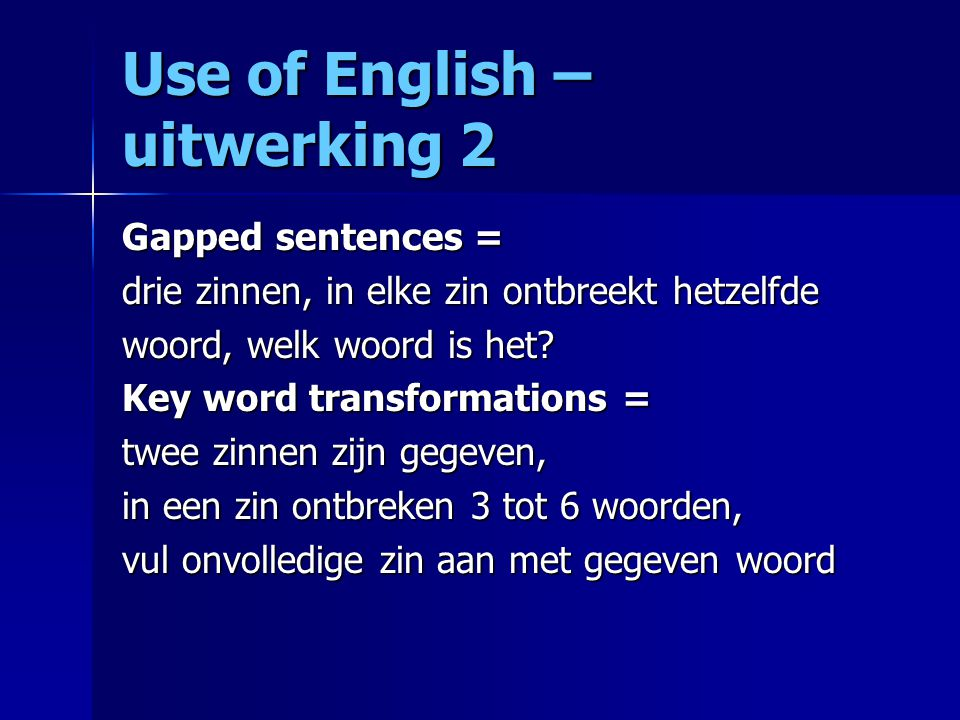 Use of English – uitwerking 2