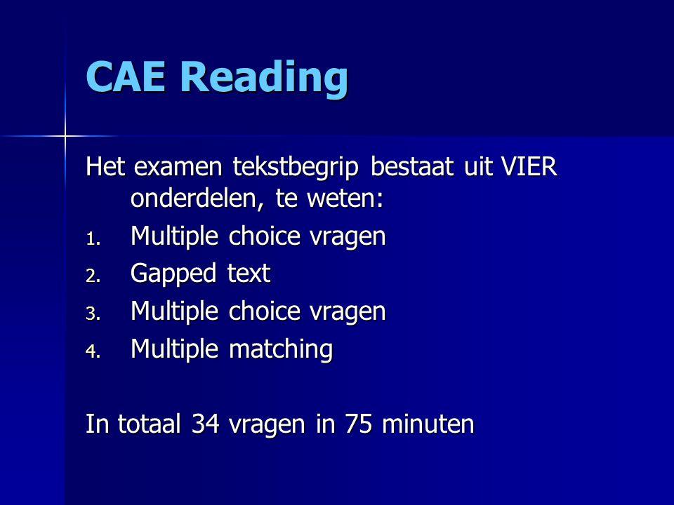 CAE Reading Het examen tekstbegrip bestaat uit VIER onderdelen, te weten: Multiple choice vragen. Gapped text.