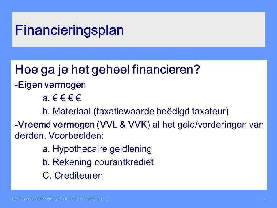 Financieringsplan Hoe ga je het geheel financieren Eigen vermogen