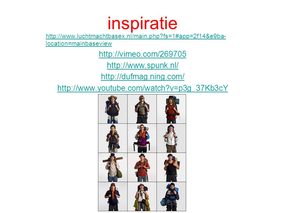 inspiratie http://vimeo.com/269705 http://www.spunk.nl/
