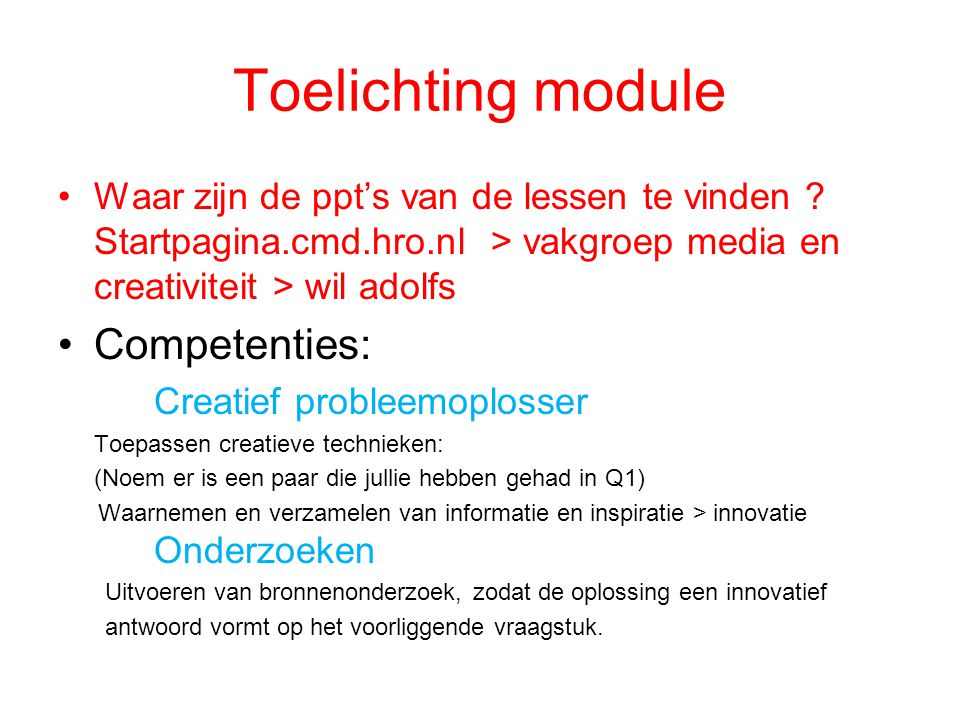 Toelichting module Competenties: