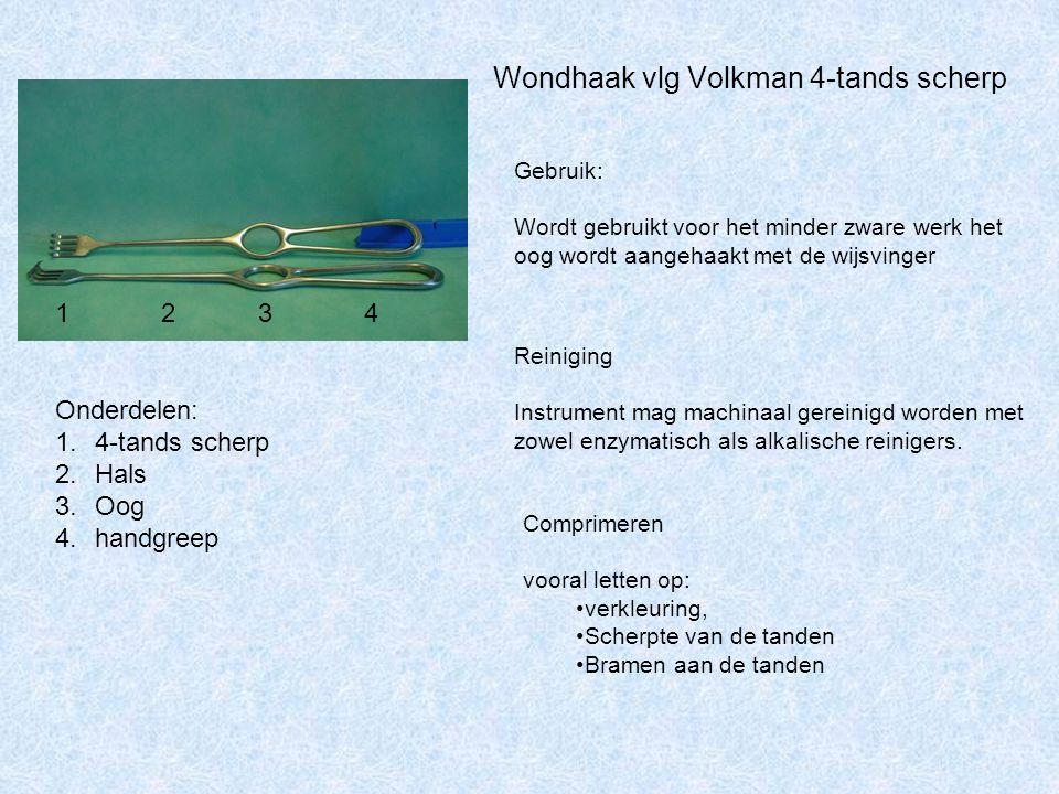 Wondhaak vlg Volkman 4-tands scherp