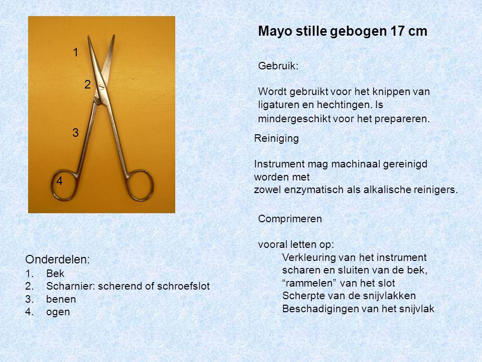 Mayo stille gebogen 17 cm 1 2 3 4 Onderdelen: Gebruik: