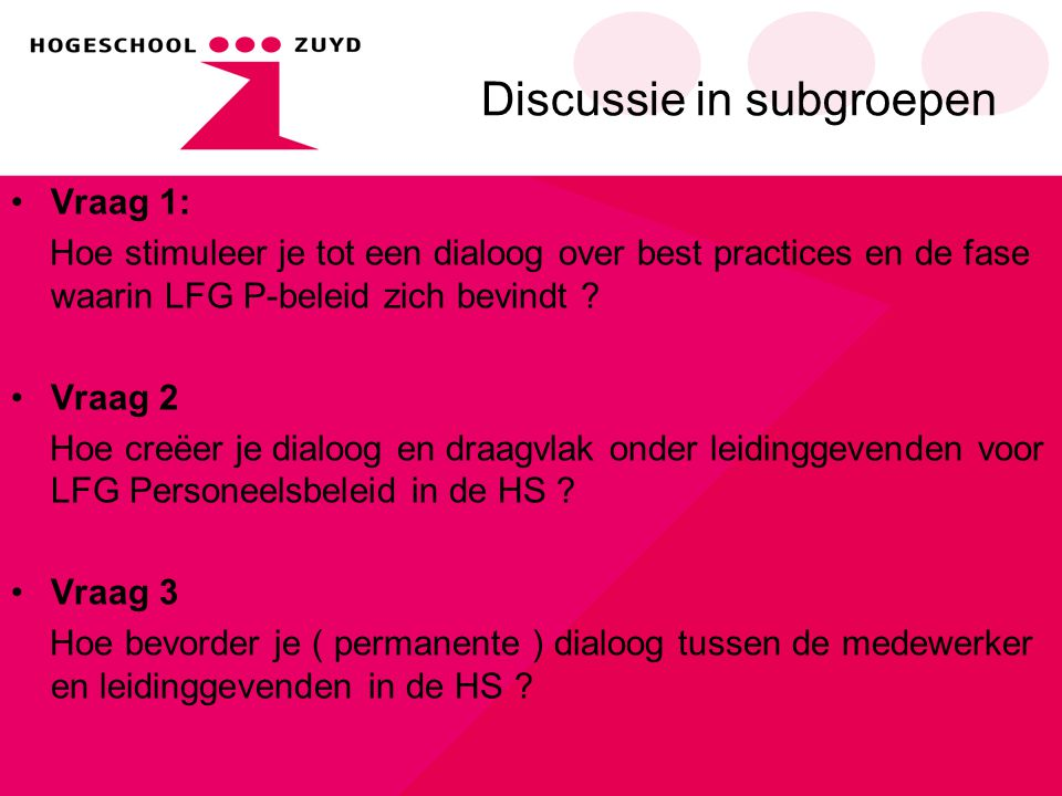 Discussie in subgroepen