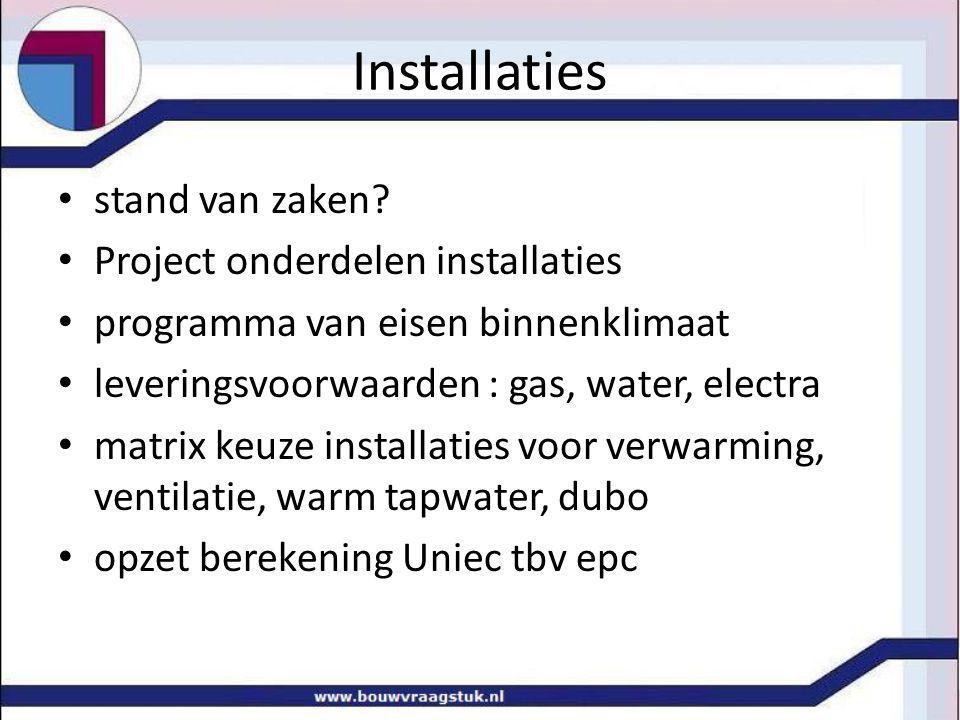 Installaties stand van zaken Project onderdelen installaties