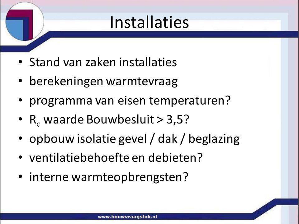 Installaties Stand van zaken installaties berekeningen warmtevraag