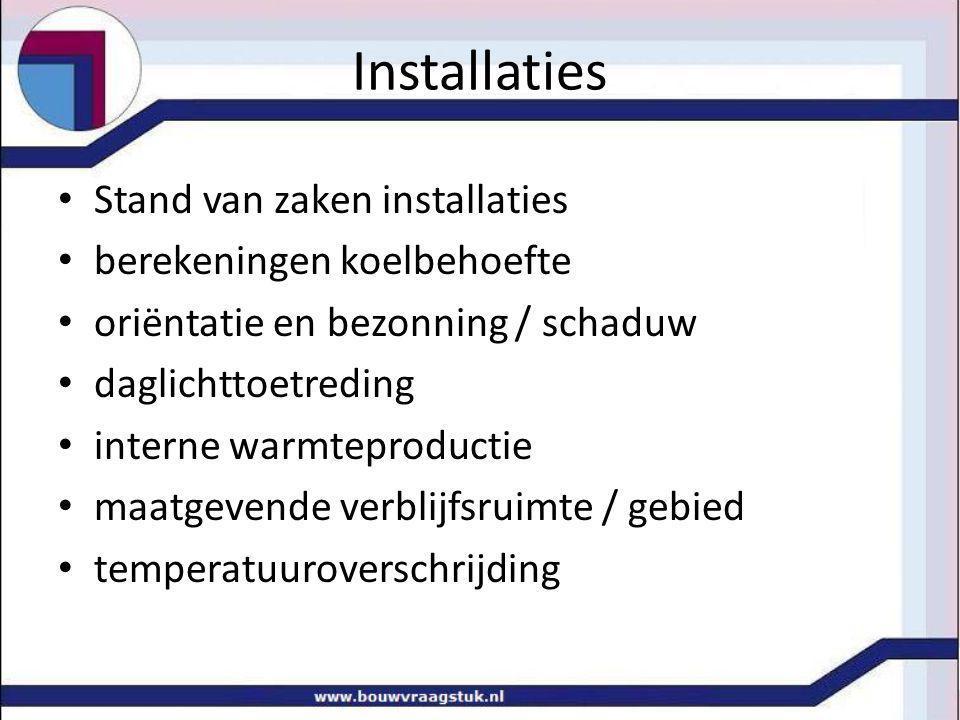 Installaties Stand van zaken installaties berekeningen koelbehoefte