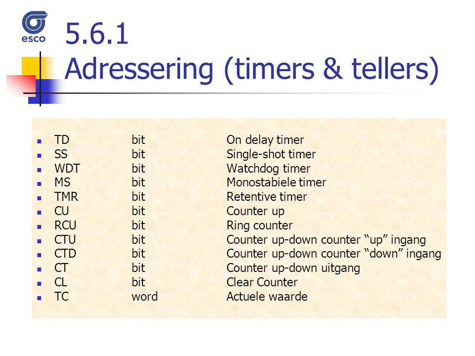 5.6.1 Adressering (timers & tellers)