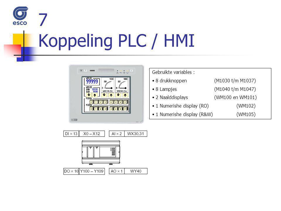 7 Koppeling PLC / HMI Gebruikte variables :