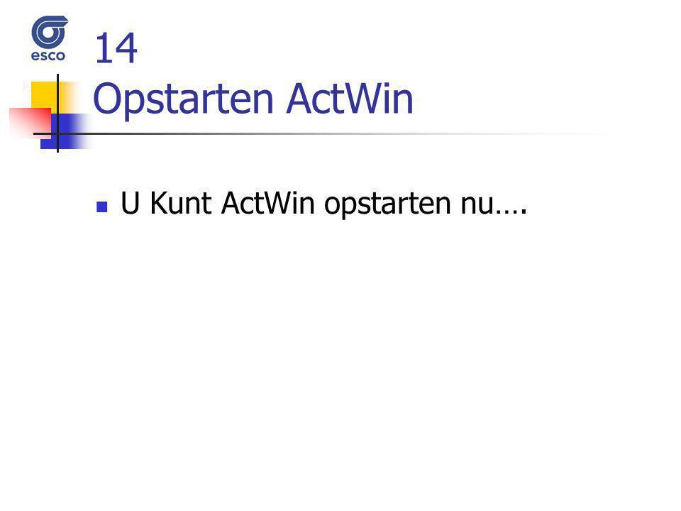 14 Opstarten ActWin U Kunt ActWin opstarten nu….