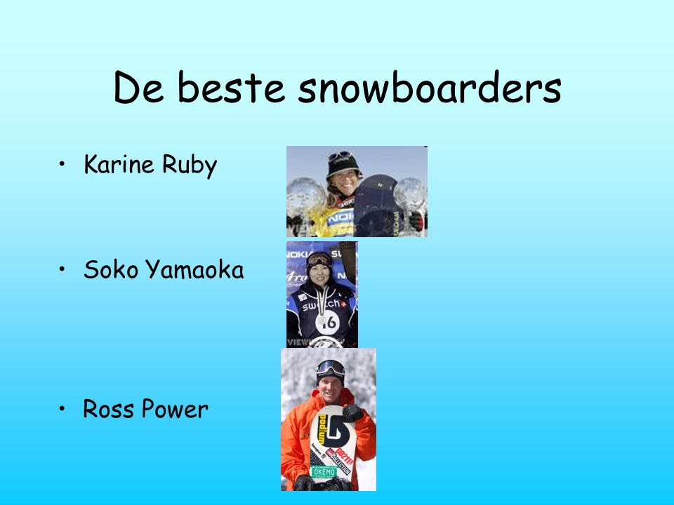 De beste snowboarders Karine Ruby Soko Yamaoka Ross Power
