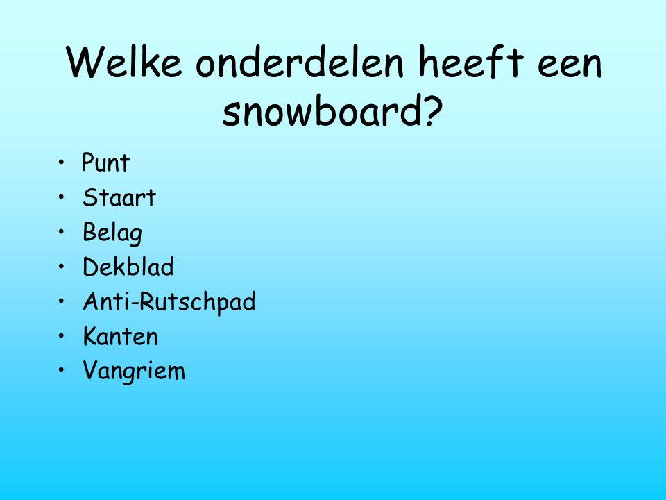 Welke onderdelen heeft een snowboard