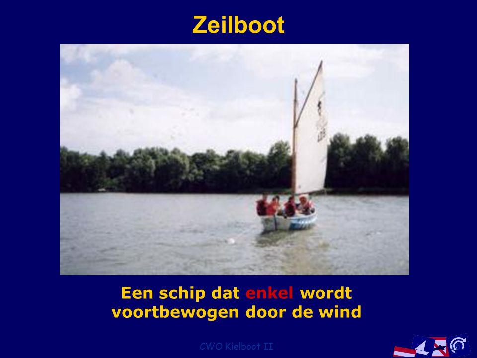 Een schip dat enkel wordt voortbewogen door de wind